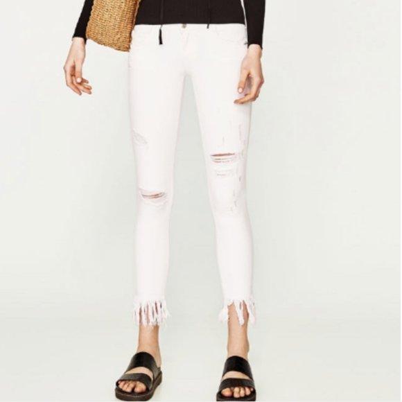 ZARA Spain Trafaluc White Ripped Skinny Jeans